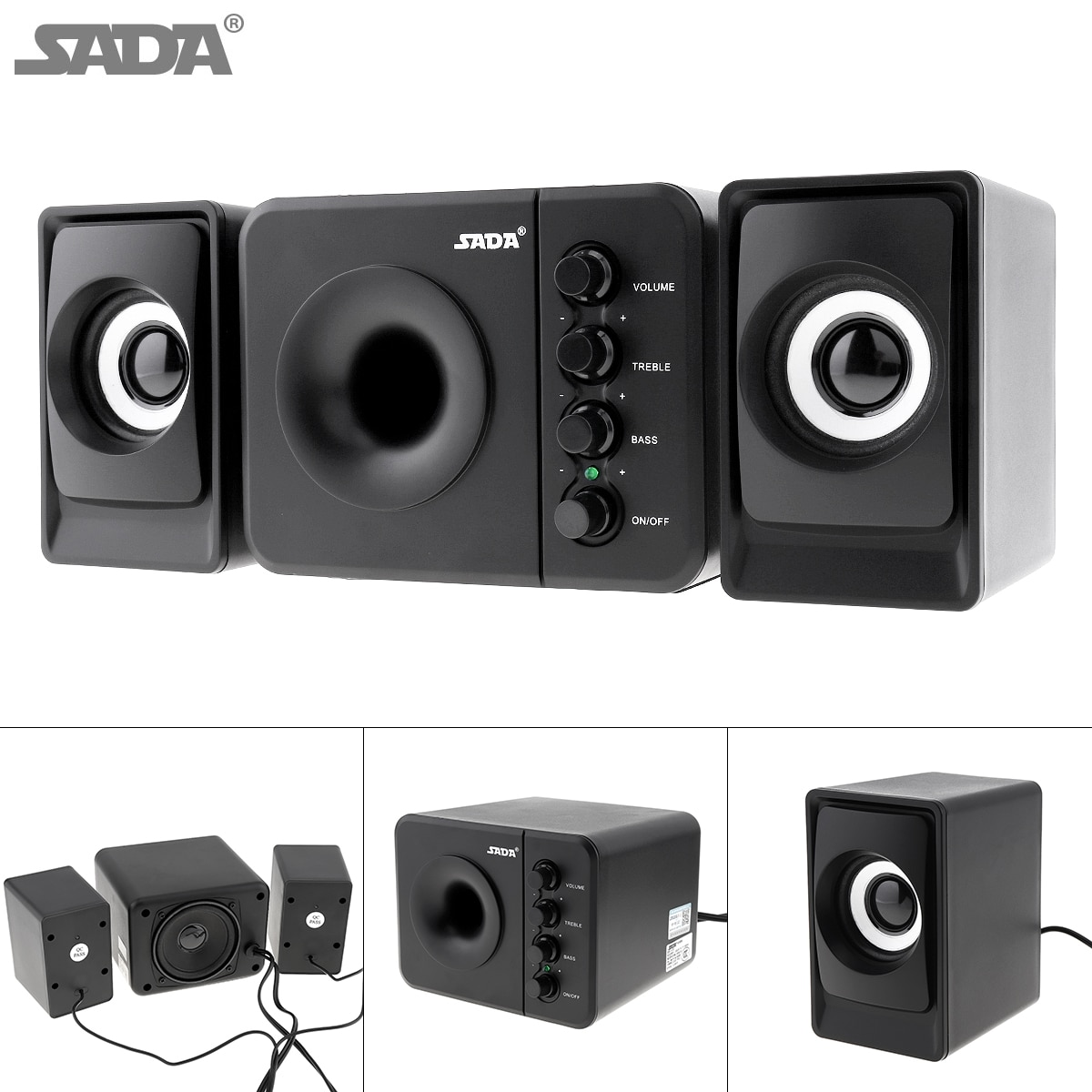 Computer Speakers USB PC Laptop Desktop System with Stereo Bass Subwoofer Set US